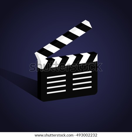 Movie production clapper board. Isolated vector illustration