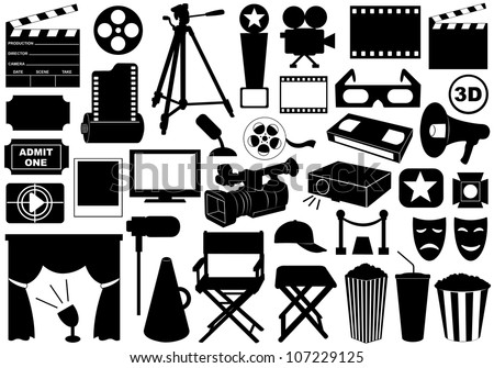 Movie related elements isolated on white