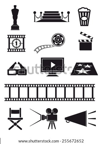 movie set of black icons on white background - stock vector