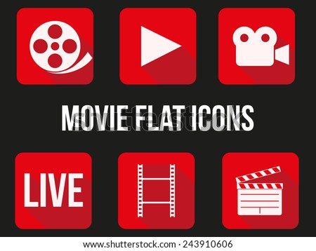 Movie square icons set. Button for internet player or app. Vector Illustration. - stock vector