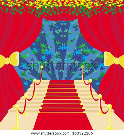 Movie star symbol on a red carpet representing Hollywood premier grand opening. - stock vector