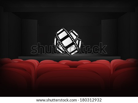 movie tape on the stage in theater interior vector illustration - stock vector