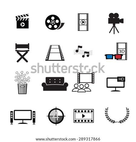 Movies cinema icons set vector  - stock vector