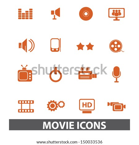 movies, media icons, signs set, vector