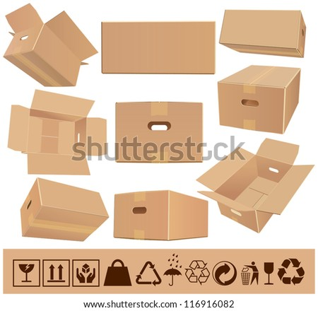 Moving boxes - stock vector