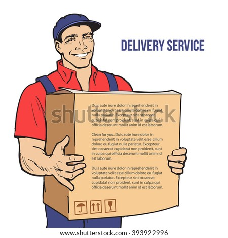 Moving Companies. Shipping. Happy loader stands with box. Vector illustration. Move house service. Transportation of things. Delivery of goods. Box. Carrier with a box isolated. Transportation package - stock vector