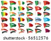 Moving flags set - Africa & Middle East.  36 Vector flags. - stock photo
