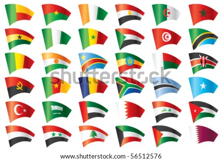 Moving flags set - Africa & Middle East.  36 Vector flags. - stock vector
