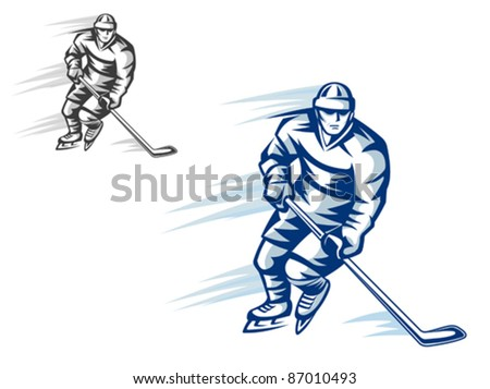 Moving hockey player in retro silhouette style for sports design, such a logo. Rasterized version also available in gallery - stock vector