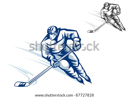 Moving hockey player in retro style for winter sports design, such a logo. Rasterized version also available in gallery - stock vector