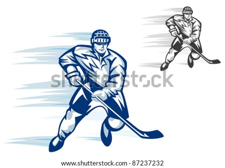 Moving hockey player in uniform for sports design, such a logo. Rasterized version also available in gallery - stock vector