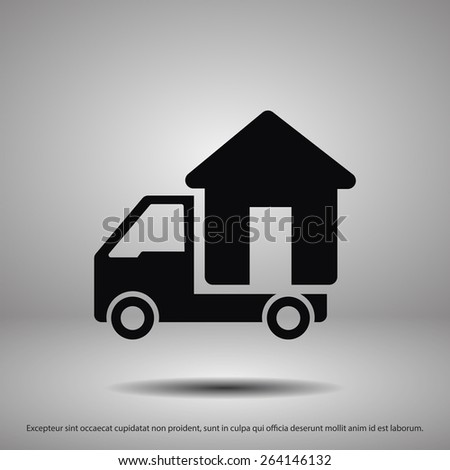 Moving home concept. A truck transporting a house. Vector - stock vector