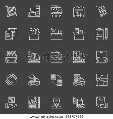 Moving line icons set - vector collection of office and house moving service signs or logo elements on dark background - stock vector