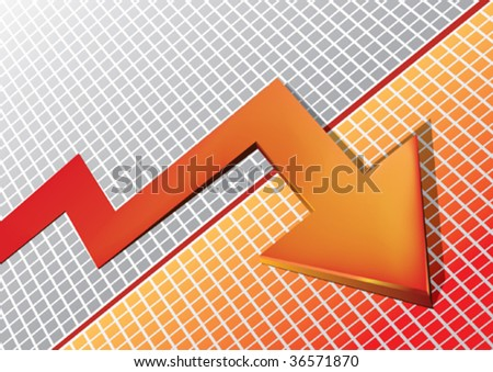 moving red arrow - stock vector