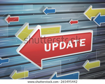 moving red arrow of update word on abstract high-tech background - stock vector