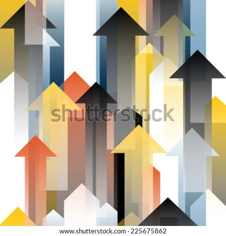 moving up black, white, red, blue, yellow transparent arrows - stock vector