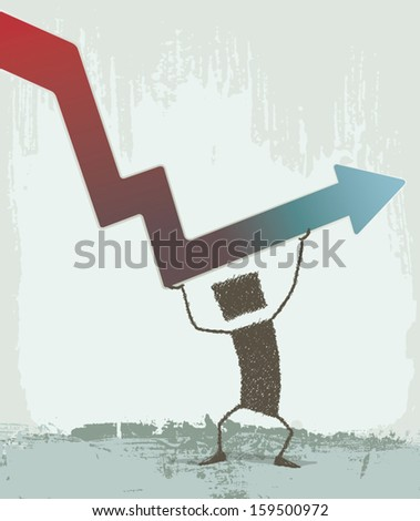 Moving Up. Businessman making an effort to return to growth. EPS8 Illustration. - stock vector