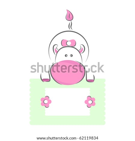 Moxy Patty the Cow over a green message sign board, vector. - stock vector