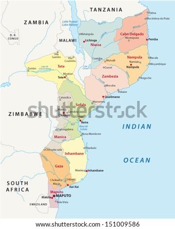mozambique administrative map - stock vector