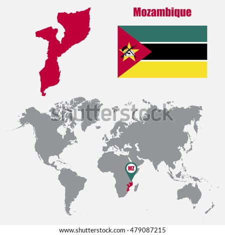 Mozambique map on world map flag stock vector 479087215 shutterstock mozambique map on a world map with flag and map pointer vector illustration gumiabroncs Image collections