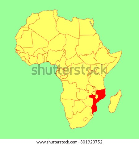 Mozambique vector map isolated on Africa map. Editable vector map of Africa. - stock vector