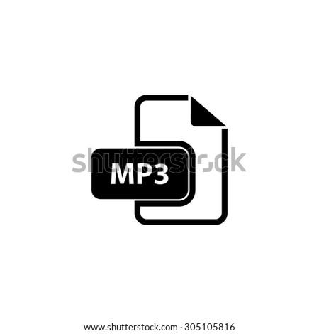 MP3 audio file extension. Black simple vector icon - stock vector