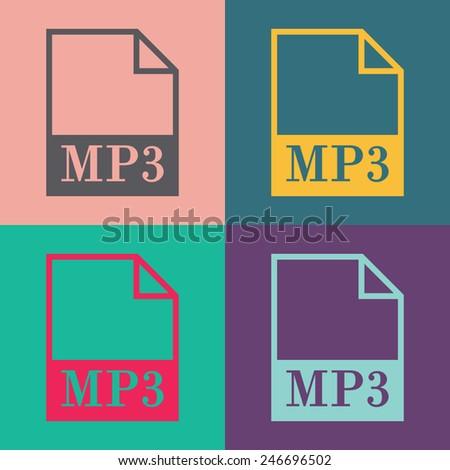 MP3 file icon. Vector. - stock vector