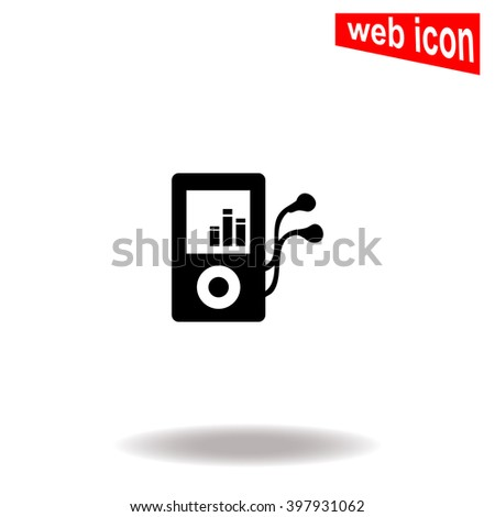 Mp3 player icon. Mp3 player icon vector. Mp3 player icon illustration. Mp3 player icon web. Mp3 player icon Eps10. Mp3 player icon image. Mp3 player icon logo. Mp3 player icon sign. Design. Flat. App. - stock vector