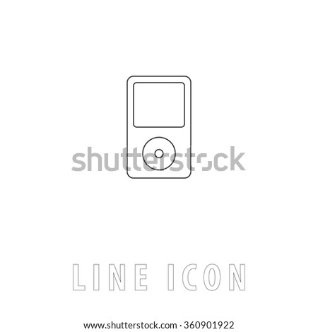 mp3 player Outline simple vector icon on white background. Line pictogram with text  - stock vector