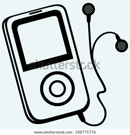 MP3 player with earphones. Isolated on blue background - stock vector