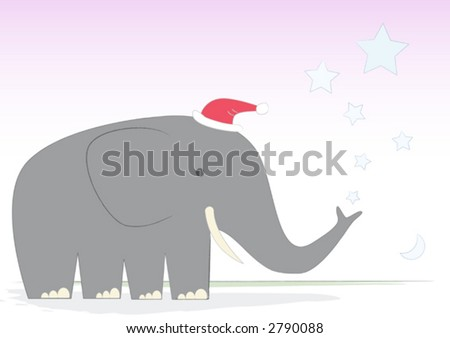 Mr. Elephant creates a Christmas shower. The moon rises over the Serengeti. Crickets chirp. I have left the tent door open, again. - stock vector