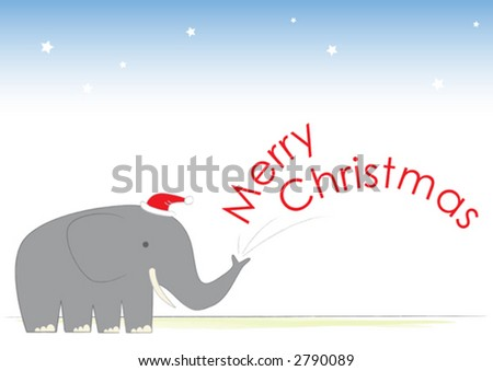 Mr Elephant wishes you a Merry Christmas. - stock vector