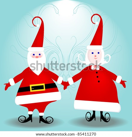 Mr. & Mrs. Santa Claus ready for your text - stock vector