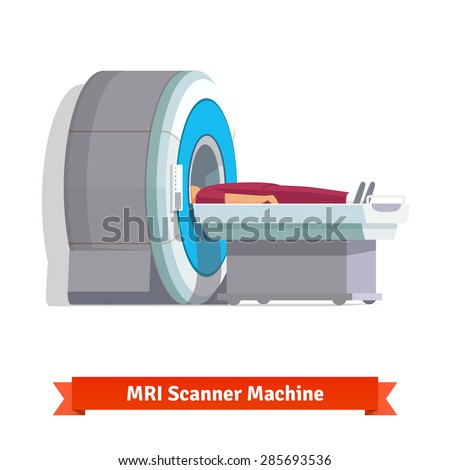 MRI, magnetic resonance imaging machine scanning patient inside. Side view. Flat vector icon. - stock vector
