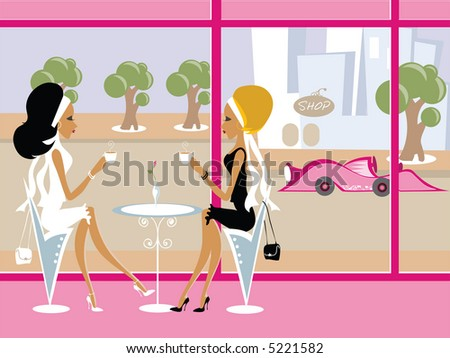 Mss Boo having coffee with a friend - stock vector