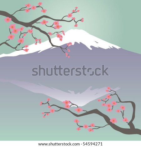 Mt Fuji and Cherry Blossoms - stock vector