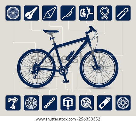 MTB bike high detailed silhouette and icons set of bicycle parts and accessories. Vector illustration. - stock vector