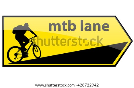 mtb cycle lane direction signboard - stock vector