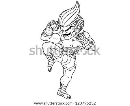 Muay Thai Boran : character cartoon 6 (A guarded stance) - stock vector