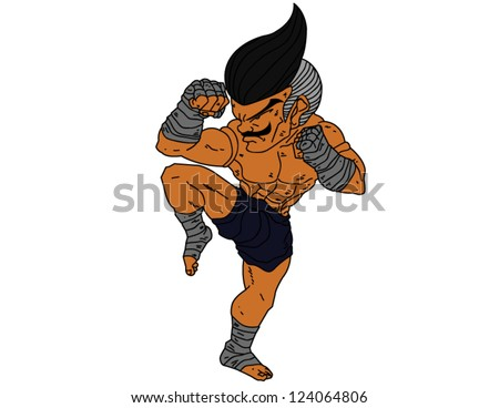 Muay Thai Boran : character cartoon 6 Color (A guarded stance) - stock vector