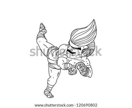 muay thai coloring pages | Muay Thai Boran Character Cartoon 4 Stock Vector 120650572 ...