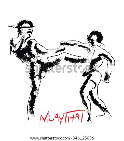 Muay Thai in dry brush style for logo and icon