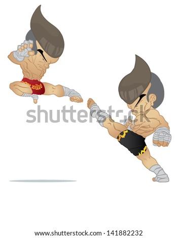 Muay Thai : Jump Kick VS High Kick - stock vector