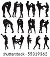 Muay Thai martial art vector illustration collection. Over twenty fight poses. - stock photo