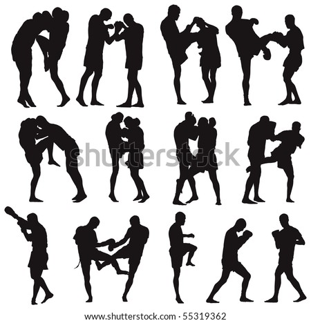 Muay Thai martial art vector illustration collection. Over twenty fight poses. - stock vector