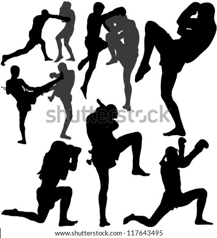 Muay Thai (Thai Boxing) fight and Wai Kru Ram Muay (traditional dance before fight) vector silhouettes. Layered. Fully editable