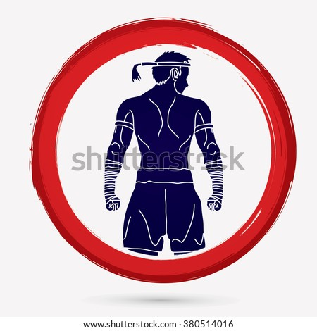 Muay Thai, Thai Boxing, Sport pose, design on red circle background graphic vector. - stock vector