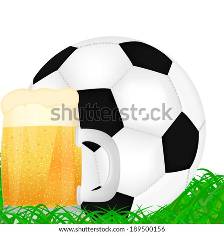 mug of beer and a soccer ball on green grass background - stock vector