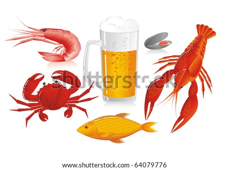 Mug of beer and snack to beer - seafood - stock vector