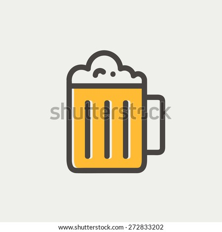 Mug of beer icon thin line for web and mobile, modern minimalistic flat design. Vector icon with dark grey outline and offset colour on light grey background. - stock vector